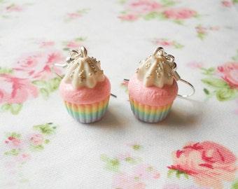 Pastel Rainbow Cupcake Earrings, Cupcake Earrings, Pastel, Rainbow, Kawaii Earrings, Sweet Lolita, Polymer Clay, Food Earrings, Dessert