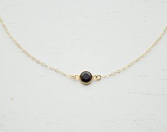 Jet Black Tiny Crystal Necklace - 25 % OFF SALE swarovski crystal round gem dainty gold filled chain simple everyday jewelry - adenandclaire