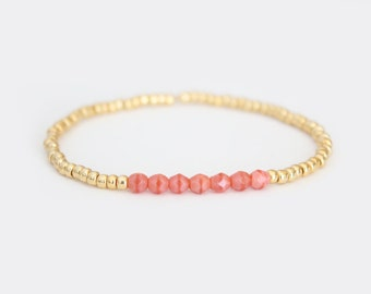 Coral Pink and Gold Beaded Bracelet - Navi