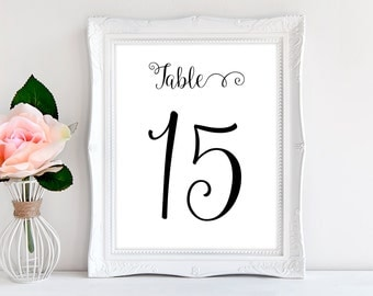 Printable Table Numbers 1-30 in Black for Wedding Reception or Dinner Party INSTANT DOWNLOAD Typography