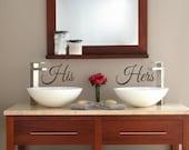 His Hers- Vinyl Wall Decal- Bathroom- Bedroom- Wedding- Decor- Wall Decal