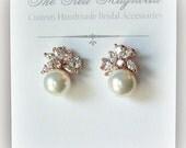 Pearl and Rose Gold Crystal Earrings, Studs, Bridal Earrings, Bridal Jewelry, Wedding Jewelry, Bridesmaid Earrings - MACKENNA
