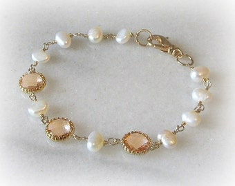 Peach Champagne Crystal Bracelet, Gold or Silver Bridesmaid Bracelet with Freshwater Pearls, Custom Colors