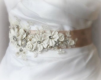 Vintage Style Champagne Bridal Sash, Ivory Sash, Wedding Belt, Rhinestone and Pearl Flower Sash with Lace - GEORGETTE