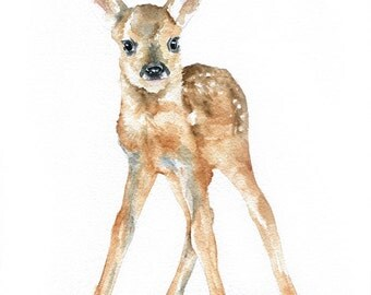 Deer Fawn Watercolor Painting Giclee Print 8x10 Nursery Art - 8.5x11