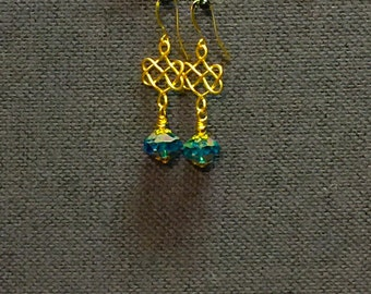 Gold Plated Celtic Knots & Czech Picasso Earrings