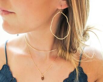 Potatohead Large Hoop Earrings - Organically Shaped Large Gold Hoops - Large Sterling Silver Hoop Earrings - Wavy Gold or Rose Gold Hoops
