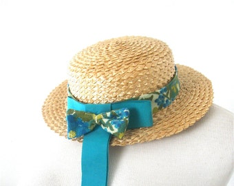 Betmar Straw Boater Hat With Teal Grosgrain Ribbon Easter Bonnet English School Uniform Tokyo Girly Style