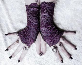 Lomion Lace Fingerless Gloves - Deep Dark Plum Purple Floral - Gothic Vampire Lolita Wedding Fetish Tribal Goth Gypsy Aubergine Eggplant