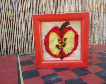 Vintage Needlepoint Apple Half in Red Frame