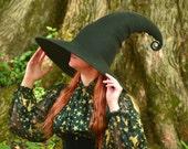 Black Halloween Witch Hat. Wizard Costume Hat. Fantasy Hat. Cosplay Hat. LARP. Wide Brim.
