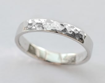 White gold wedding ring women men wedding band hammered wedding band polished 3mm wide