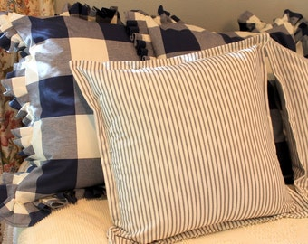 """20"""" Ticking Stripe Pillow Sham Cover With a 1"""" Flange"""