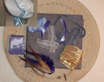 Bonnet Kit- DIY- Lavender and Tan- Regency, Georgian, Jane Austen Era Bonnet