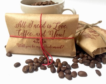 Bridesmaid Gifts. Freshly roasted coffee gift set for your girls! Set of 5-ready to ship. Will you be my bridesmaid?