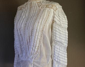 1910s Edwardian Wedding Blouse . White Cotton Antique Lace . Small S