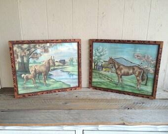 Pair of Framed Vintage Horse Prints // Ornate Wood Frames