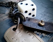 Lets Get Lucky - stamped metalwork tag, industrial brass charm, vintage die & sealed link chain necklace