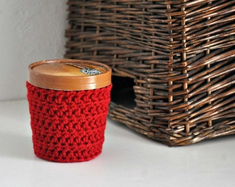 Red Ice Cream Cozy Crocheted Holder Pint Size Eco Friendly Reusable Cover Get Well Gift Friend Gift Easy Hold