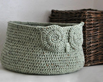 Rustic Green Owl Basket Crocheted Bin Neutral Baby Room Decor Woodland Nursery Decor Home Organizer