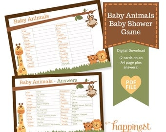 Baby Animals Baby Shower game- jungle safari inspired theme