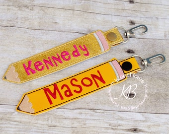 Personalized Name Tag, School Backpack Tag, Pencil Snap Tab, Key Fob, Key Chain, Teacher Gift, Kindergarten, 1st Grade, Boy, Girl