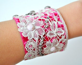 Vintage inspired beaded cuff bracelet/Victorian velvet/Art deco/Tiny rhinestones/Antique lace/Metallic buttons/Flapper sequins/Milky beads
