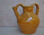 French Antique Pitcher, Jug, Cruche for Wine, Oil or Water Honey Glaze