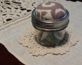 Mason Jar Sewing Kit with Waverly Fabric Pincushion