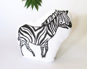 Plush Zebra Pillow. Hand Woodblock Printed. Pick Any Colors. Made to Order.