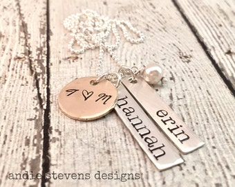 Personalized Mother necklace - Sterling Silver and Gold - Skinny Tags - couples jewelry - family necklace - Custom Name Necklace - Trendy