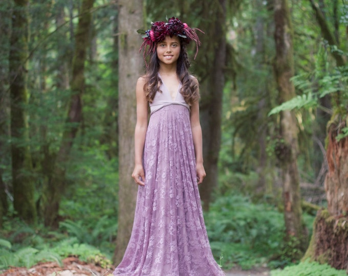Girls Whimsical Lace  Infinity Convertible Twirl Wrap Dress  Long Aline Maxi-Choose any fabrics~Juniors, Childs, Flower girl
