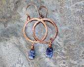Blue Earrings, Large Copper Hoop Earrings, Sodalite Earrings, Natural Stone Earrings, Bohemian Earrings, Handmade Earrings, Stone Jewelry