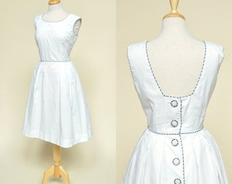 Vintage 1960s Day Dress...HELEN WHITING White Cotton Sundress Medium
