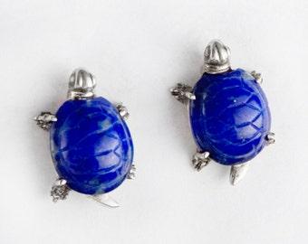 Blue Lapis Turtle Earrings