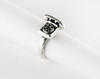 1970s Rotary Phone Sterling Silver Ring