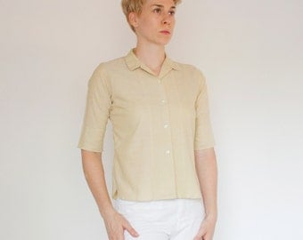 Vintage 60's button down shirt, 1/2 sleeve, khaki / tan / beige, small collar, Miss Pat, casual, preppy, classic, blouse