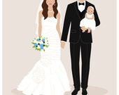 Custom wedding portrait, custom couple gift, wedding gift