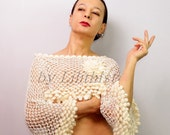Crochet Crop Top, Ivory Cropped Sweater, Lace Blouse, 3/4 Sleeve Wedding Cover Up, Bridal Shrug Top, Dancing Top, Evening Gown Crochet Shrug