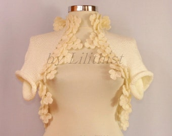Ivory Shrug, Knit Shrug, Lace Bolero, Crochet Shrug, Knit Bolero, Flower Crochet Bolero, Bridal Cape, Red Wedding, Bridal Shrug Bolero S-M-L
