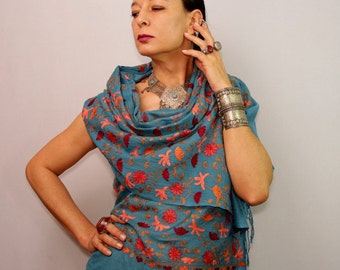 Blue Pashmina, Wedding Pashmina, Pashmina Shawl, Pashmina Scarf, Silk Scarf, Pashmina Wrap, Flower Shawl, Gift For Her, Women Accessories