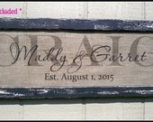 Last name sign, burlap wedding signs, burlap print, family name sign, family name plaque, framed wedding sign, personalized sign, name sign