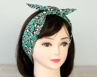 Adult headband woman cotton headband womens hair wrap pin up headband top knot headband floral head wrap green bandana scarf tie up headband