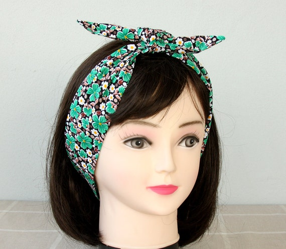 Adult headband woman cotton headband womens hair wrap pin up headband top knot headband floral head wrap green bandana scarf tie up headband
