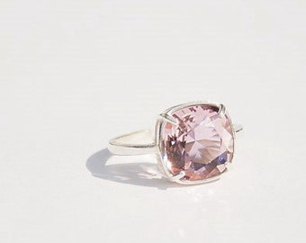 Handmade Pink Swarovski Ring Antique Pink Swarovski Pink Ring Pink Crystal Ring Pink Cushion Stone Ring Swarovski Antique Pink Ring