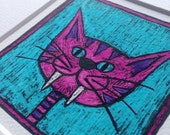 Cat picture - Portrait of a pink and purple stripey cat on blue Giclée print from original drawing by stupidcats - cat art