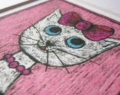 Pink cat picture - small pink and white cat print - wall decor - arty gift for cat lovers - Valentine's - Mother's day - nursery decor