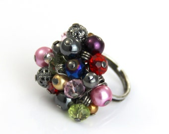 Stormy Rainbow - Multi Color Gunmetal Adjustable Glass Cluster Ring - Black Red Pink Green Blue Purple Gray Cocktail Colorful