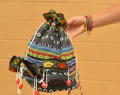 Vintage Ethnic Tribal Textile Mini Bucket Bag Backpack Purse