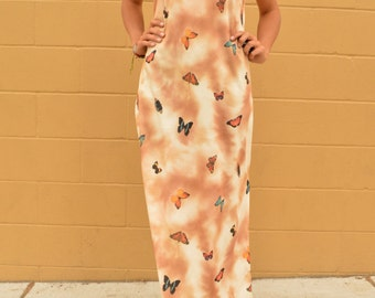 Vintage 90s Butterfly Polyester Grunge Sleeveless Maxi Dress Digital Print